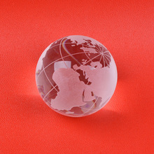 LS Lot 2pcs Clear Crystal Globe Ball Sphere ORB Glass Ornament Home Decoration