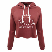 Funny Cute Cat Crop Tops Hooded T Shirt So Lazy Can T Move Pullover Sweatshirt Women
