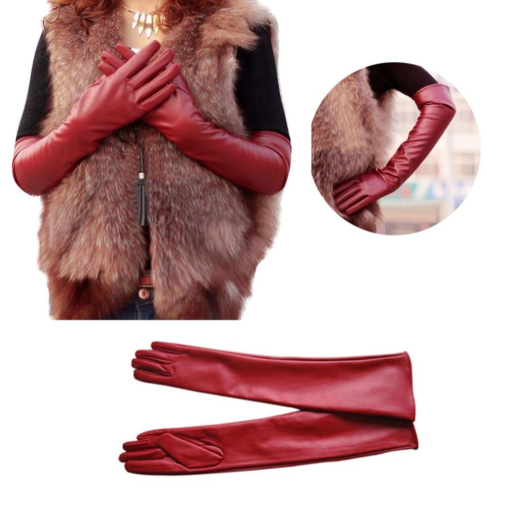 Ladies leather gloves nz - Women Lady Winter Long Leather Gloves Touchscreen Elbow Length Evening Party 1x China Mainland