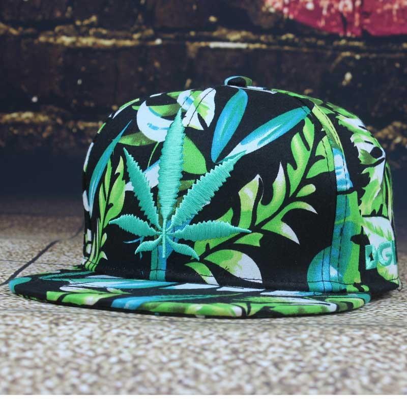 886c42a3035b3 Estilo de verano Homme Gorras Mujeres Hoja De Marihuana Weed Leaf ...
