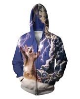 Alisister New Fashion Men Women 3d Zip Jackets Print Cat Zombie Cartoon Hooded Sweatshirt Tops Winter