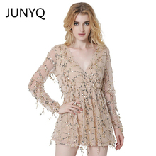 2017 new Europe women's long sleeve deep V T-shirt sexy long-sleeved T-shirt network yarn tassels sequins with short sleeves
