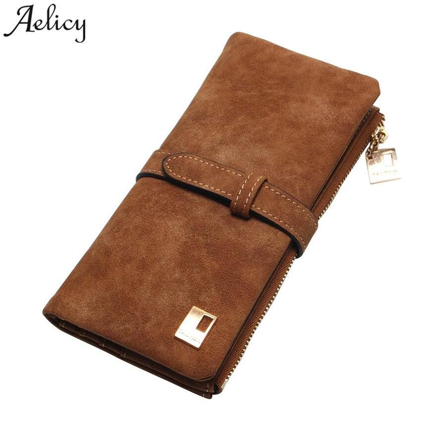Aelicy 2018 Fashion Women Wallets Drawstring Nubuck Leather Zipper Wallet Long Women Design Purse Two Fold More Color Clutch