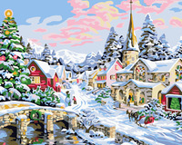 HQ Christmas Snow Landscape DIY Painting By Numbers Handpainted Canvas Painting Unique For Christmas Decoration Drawing