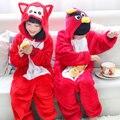 Inverno Quente de manga Comprida Pijamas Crianças Dos Desenhos Animados Fox E Pássaro Cosplay Animal Macacão de Flanela Crianças Sleepwear Meninos Meninas Pijamas