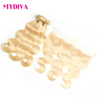 613 Bundles With Frontal Blonde Body Wave Hair Bundles With Frontal Closure 100% Remy Human Hair Extension Russian 10 30inch