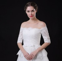Half Sleeve Off the Shoulder Lace Appliques Bridal Boleros Wedding Jackets for Women Bride Wrap for Evening Dress 2018