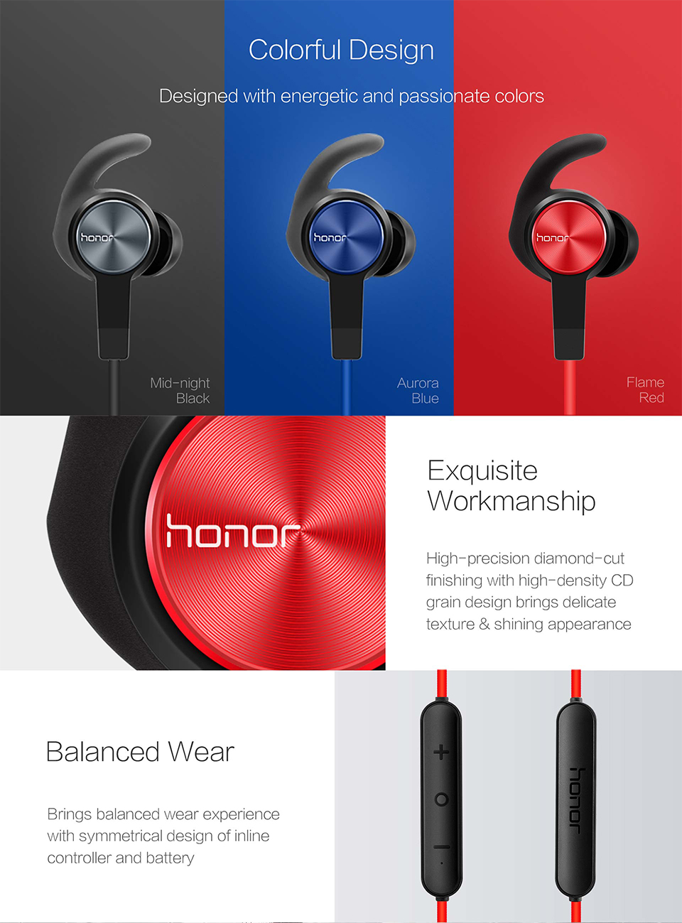 Huawei Honor xSport Bluetooth Headset AM61 IPX5 Waterproof BT4.1 Music Mic Control Wireless Earphones for Android IOS D5 (2)