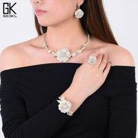 GODKI Luxury Nigerian Jewelry sets For Women Cubic Zirconia Dubai Gold Wedding Flower Indian Long bridal jewelry sets NEW