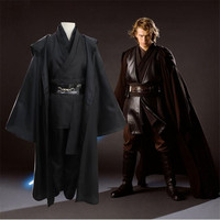 High Quality Star Wars Jedi Knight Sith Cosplay Costume Adult Boys Suit Set Cloak trousers Waist seal Free Shipping