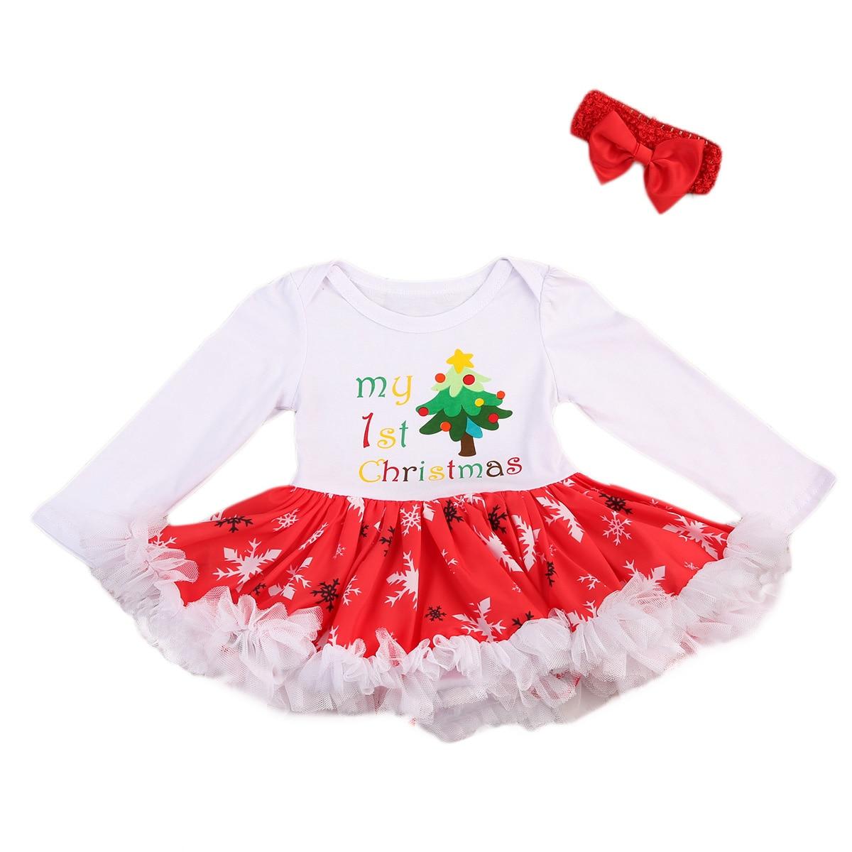 100% QualitäT Baby Mädchen Mein 1st Weihnachten Kleid Bowknot Stirnband Outfits Set 0-24 Mt