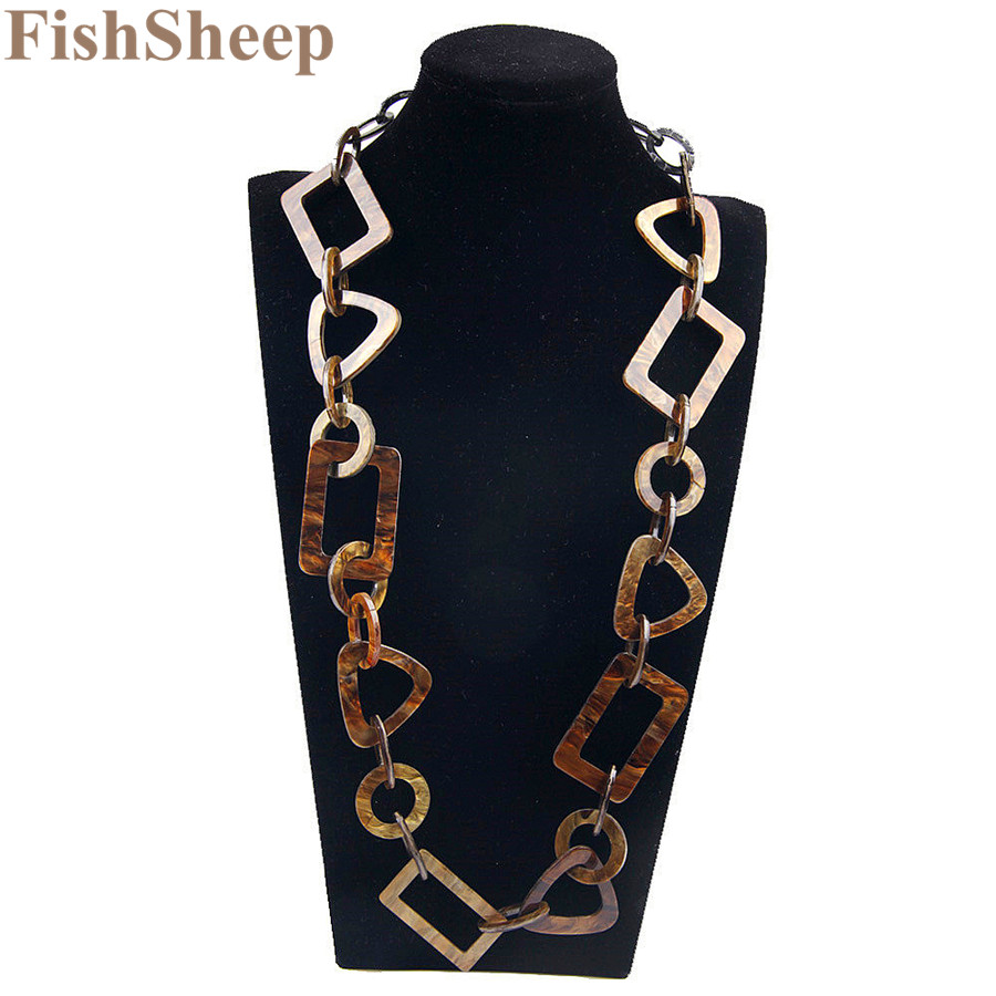 Fishsheep 2017 Fashion Necklaces Pendants Vintage Big Chain Link Acrylic Geometr