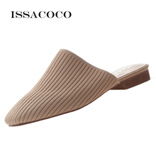 ISSACOCO Square Head Knit Womens Slippers Ladies Casual Shoes Non-slip Home Women Sandals