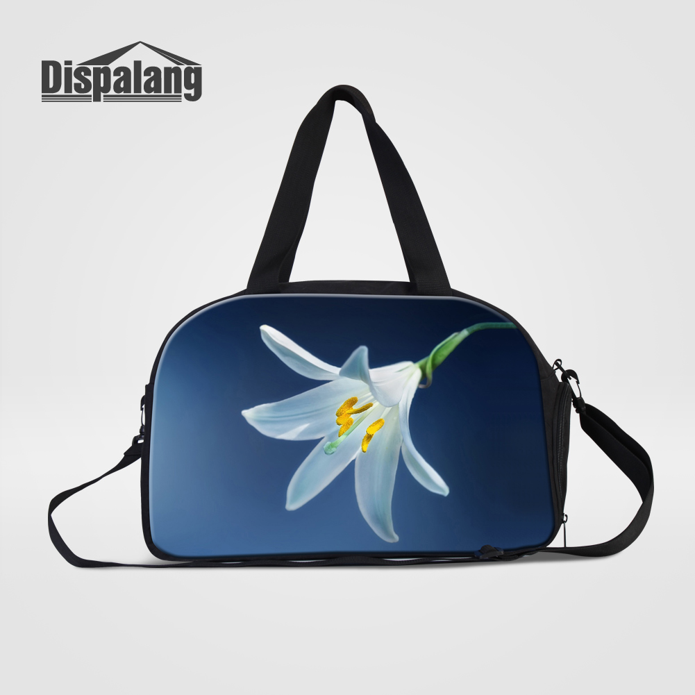 Dispalang Womens Fashion Traveling Shoulder Bag Cute Flower Prints Colthes Organizer With Shoes Unit Ladies Travel Duffle Bags