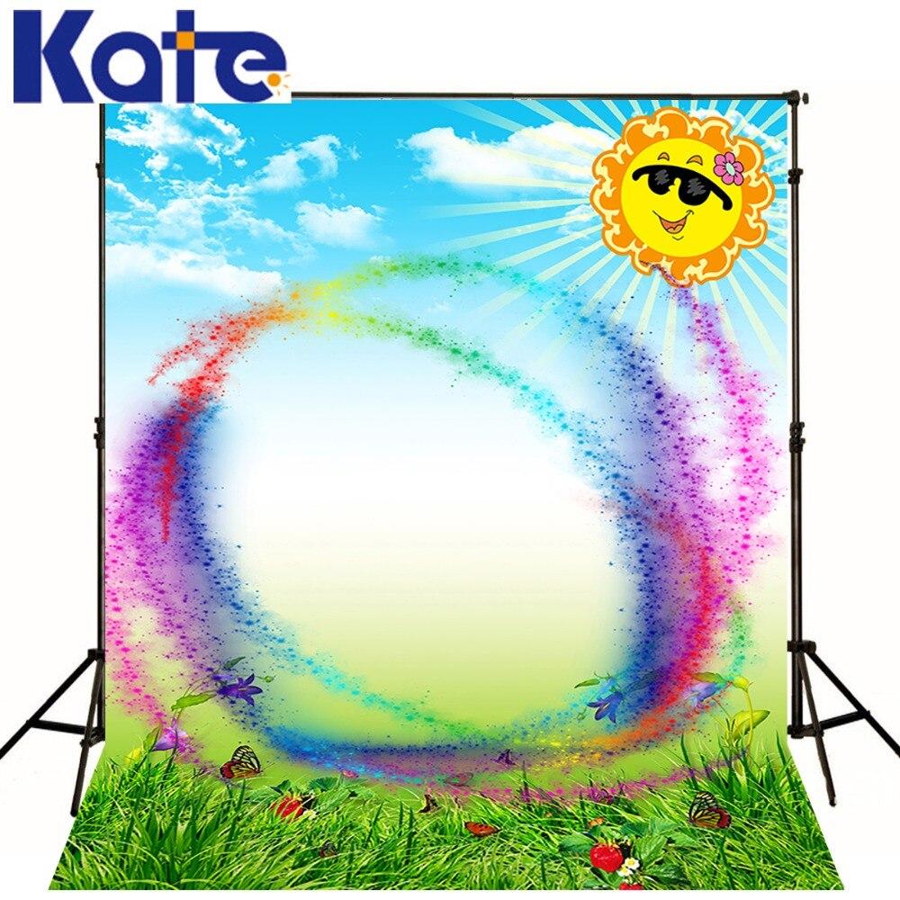 Kate Customize Backdrops Spring Natural Scenery Backgrounds Rainbow  Sun Butterfly Photography Photo Studio Microfiber Backdrop сумка kate spade new york wkru2816 kate spade hanna