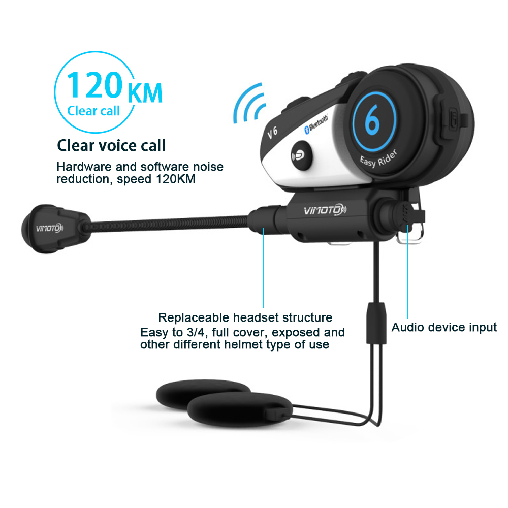 Vimoto V6 BT Interphone Motorcycle Helmet Headset Intercom simultaneously pair 2 different Bluetooth High-fidelity transmission carchet 2x bt bluetooth motorcycle helmet inter phone intercom headset 1200m 6 rider motorbike headset handsfree call