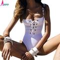 Goodbuy 2016 Bandage Vestuário Mulheres Rompers Lace Up Sexy Blusa Macacão Verão Macacão Bodysuit Mulheres Trajes de Bano Femme