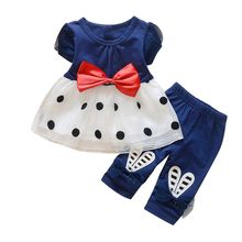 Toddler Kids Baby Girls Summer Outfits Clothes T Shirt Tops Dress Pants 2PCS Set Polka Dot Tutu Shirt Top Rabbit Pants Clothing