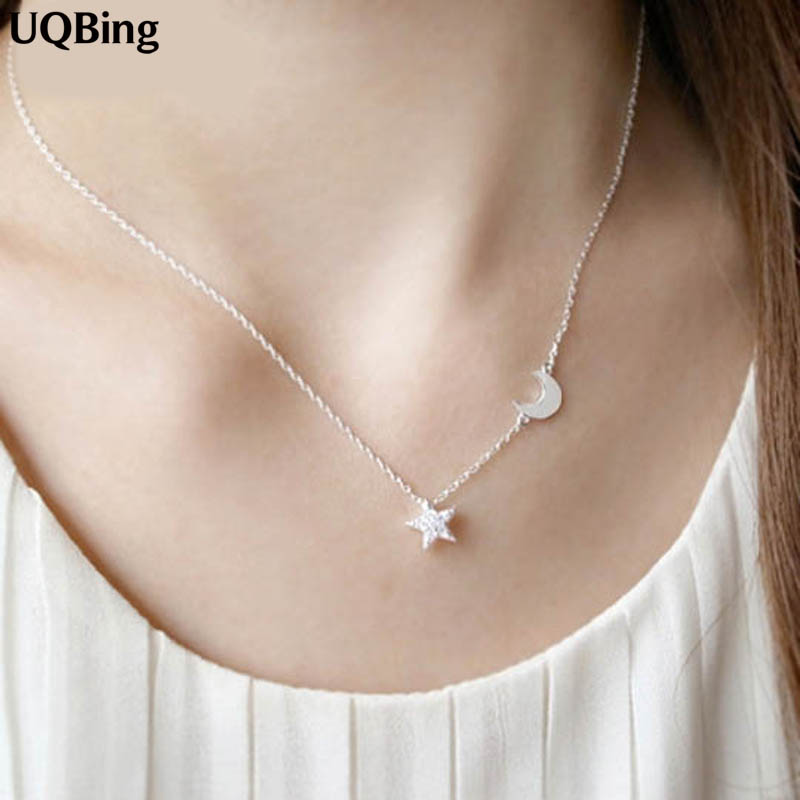 2016 New 925 Sterling Silver Crystal Star Moon Necklaces & Pendants Pure Sterling Silver Choker Necklace Jewelry Collar Colar