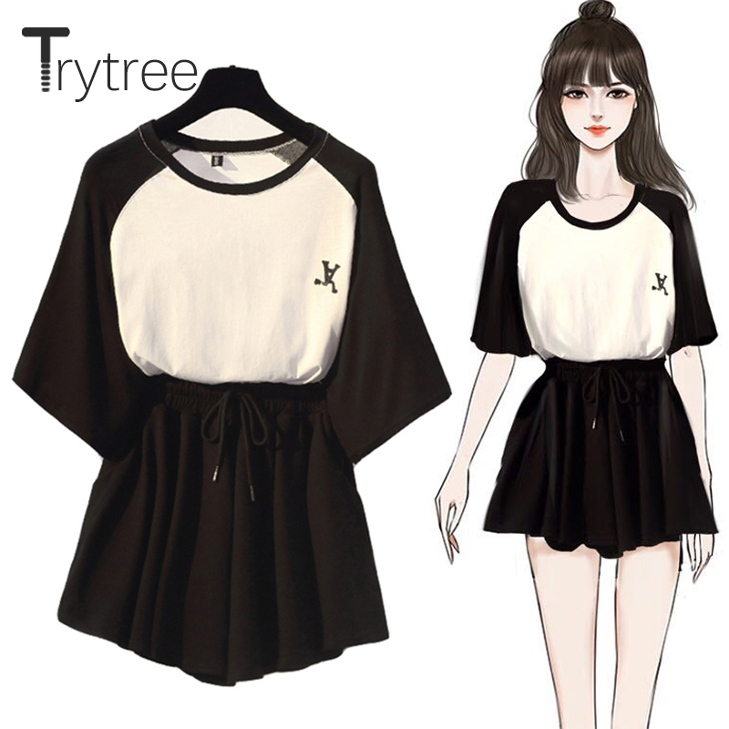 Trytree Summer Women Two Piece Set Casual O-Neck Tops + Shorts Skirts Elastic Waist Drawstring Pockets Thin Suit Set 2 Piece Set