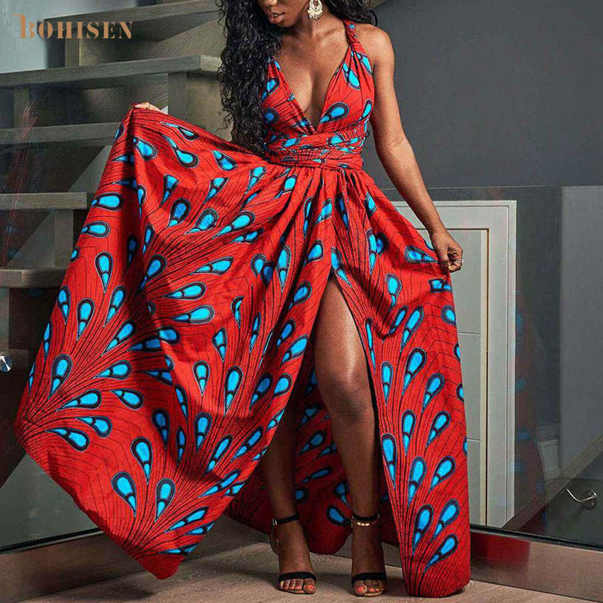 BOHISEN Dashiki African Dresses For Women Bazin Ankara Dresses Skirts Sleeveless Plus Size African Print Clothes For Women