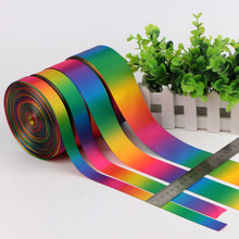 5 Yards Rainbow ribbon high quality printed polyester DIY handmade materials wedding gift wrap for hairbow