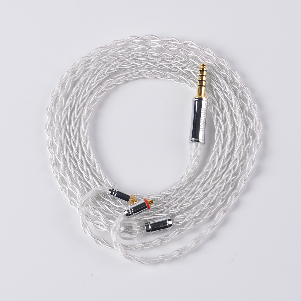 Kinboofi 8 Core High pure Silver Plated Cable Single strand 119 core 2.5/3.5/4.4mm Balanced Cable With MMCX/2pin Connector