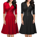 Winter Vintage Dress US Size 50s Rockabilly For Woman 2017 Party Dresses Suit Black Slim Elegant Ladies Evening Party Vestidos