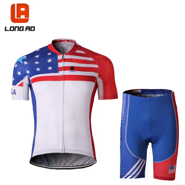 LONG AO USA Men Womens Cycling Jersey Set Ropa De Camisa Ciclismo Short  Sleeve United States Bike Clothing Sport Jerseys Cycling 22cf6032f