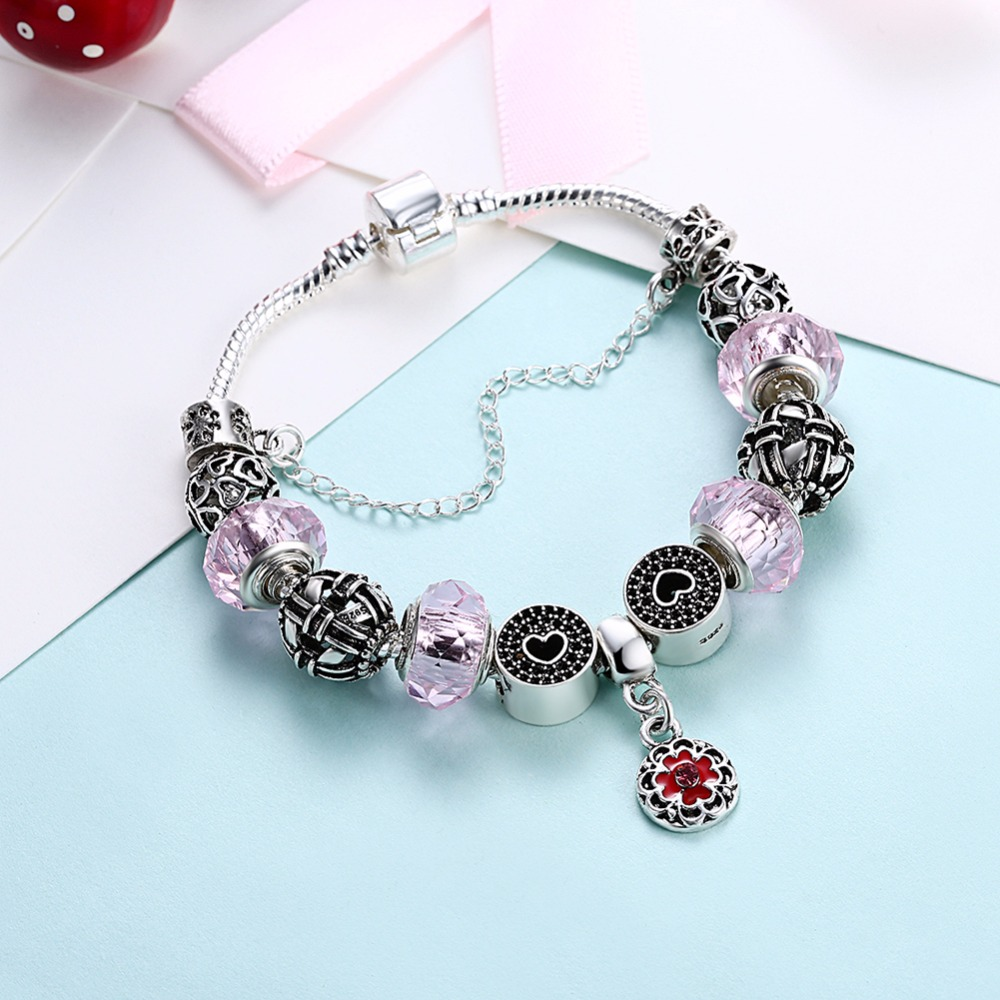 HERMOSA jewelry New Lovely pink Fashion shape Bead DIY Removable plating silver woman Bracelet 20cm PDRH058