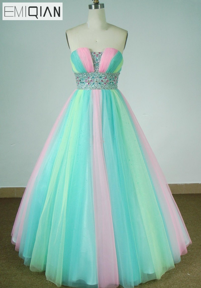 Freeshipping Hot Sale High Quality Real Pictures Strapless Beaded Colorful   Prom     Dresses