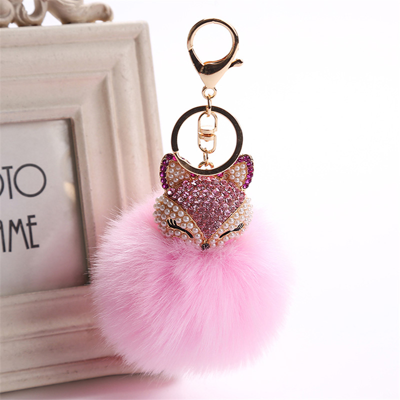 2017 New Artificial Rabbit Fur Ball Keychain Rhinestone Crystal Fox Head Pompon Trinket Key Chain Handbag Fluffy Key Ring Holder 14