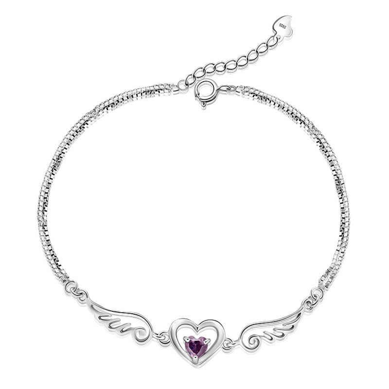 100% 925 スターリングシルバーロマンチックな天使の羽光沢のあるクリスタル ladies 'bracelets ジュエリー卸売ブレスレットなしフェードドロップ無料