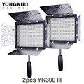 2 unids yongnuo yn-300 yn300 iii iii cri95 3200 k-5500 k luz de vídeo led con barndoor llevó el panel