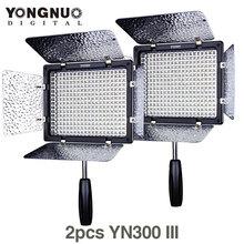 2PCS YONGNUO YN300 III YN300III YN-300 III CRI95 3200K-5500K LED Video Light with Barndoor photographic led panel lamp
