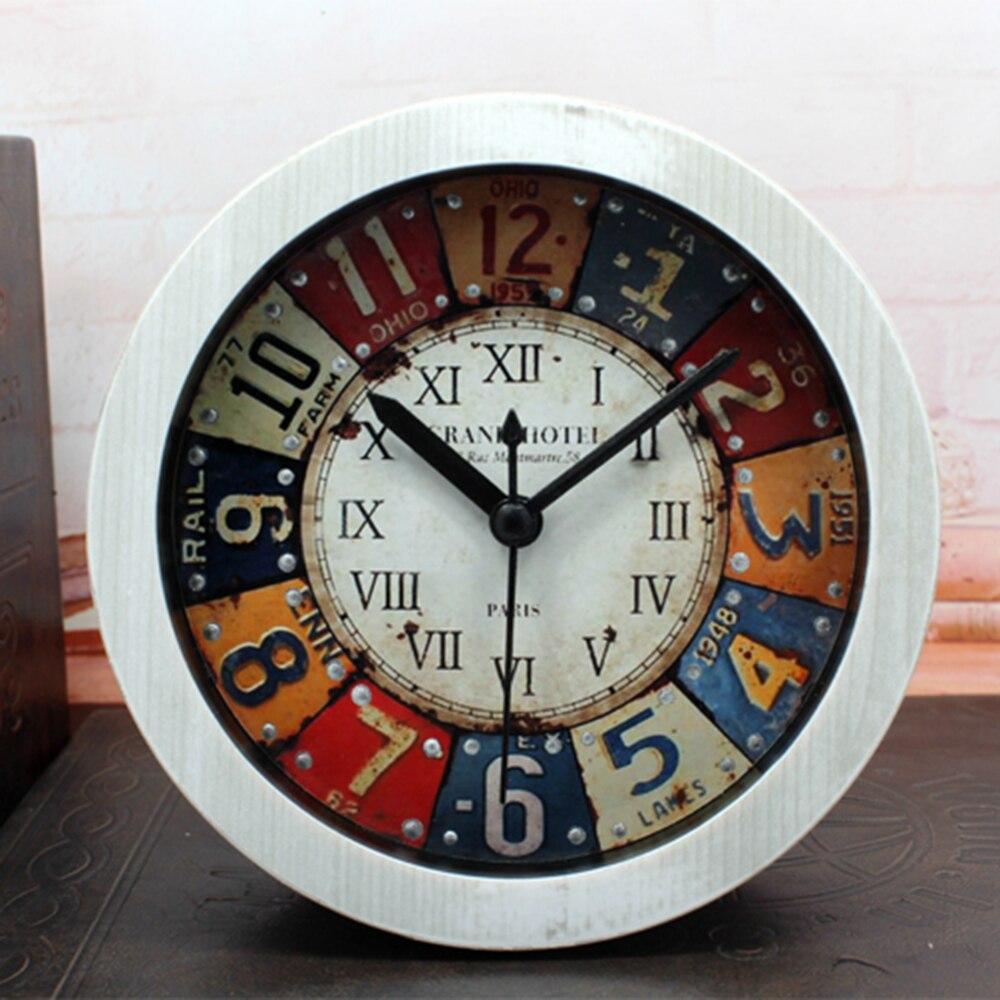 Multi-color Retro Style Faux Wood Alarm Clock Minimalist Desktop Clocks Lazy Watch Clock Home Mini Quartz Clock