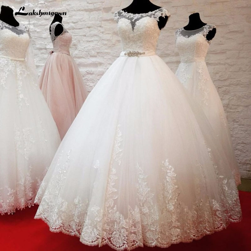 Vestidos de Novia A Line Wedding Dress 2019 Scoop Vestido Noiva Floor Length Lace Appliques White