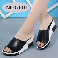 New Summer High Quality Square Heels Genuine Leather Shoes Women Sandals Ladies Flat White Black Open