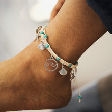 Boho Silver Metal Starfish Shell Wave Circle Pendant Anklet Beaded Summer Beach Foot Jewelry Fashion Style Anklets For Women(China)