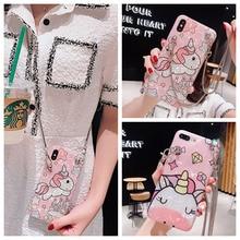unicorn chain strap tpu case for iphone 7 8 6 6s plus XR XS MAX X cover cute cartoon glitter foil soft silicon phone bag