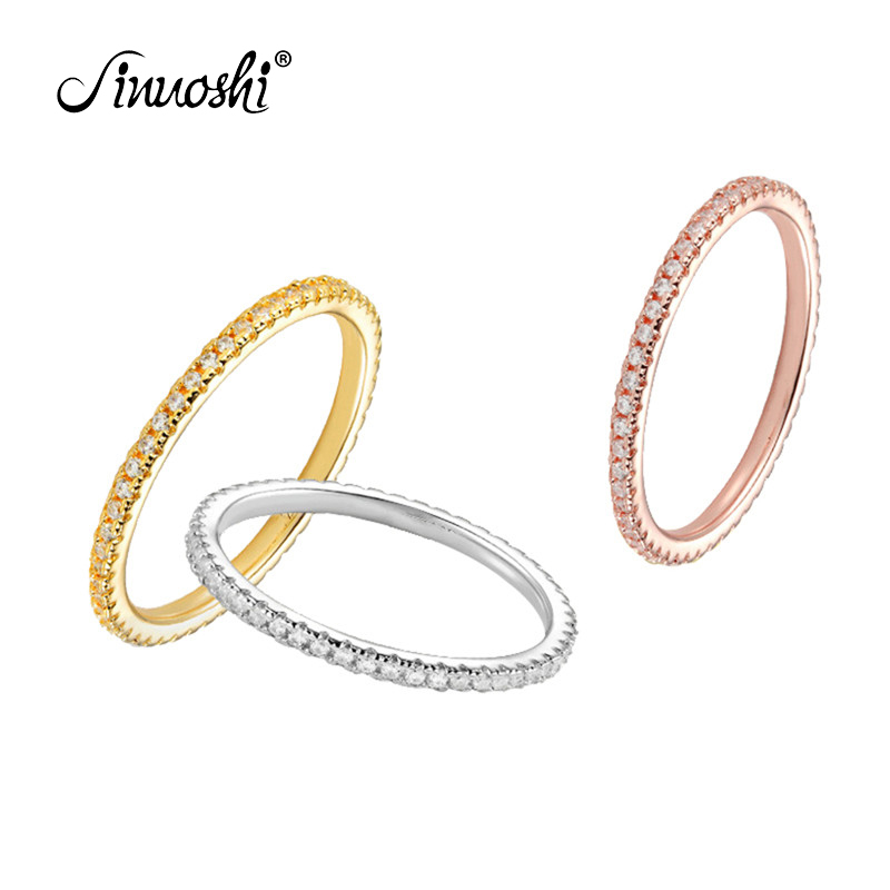 AINUOSHI Full Eternity Bridal Band Ring Simulated Diamond Engagement Wedding Sterling Silver Ring Jewelry for Women squillare