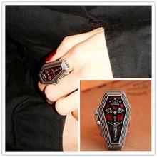 Anillos Vintage de mujer Cruz de aleación caja de Jesús ataúd anillos de dedo decoración de los dedos Retro joyería de moda de las mujeres 4D3005