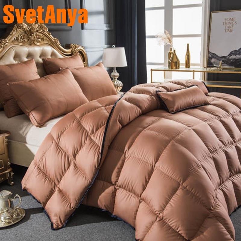Svetanya white Goose Down Duvet 3D quilted Quilt king queen twin full double size Comforter Winter Thick Blanket Bedding Filler