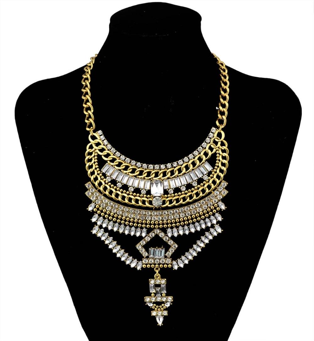 afea9ca4523f Bohemia Estilo Vintage plata oro grande forma geometría encanto declaración  gargantilla cristal Collares para las mujeres joyería