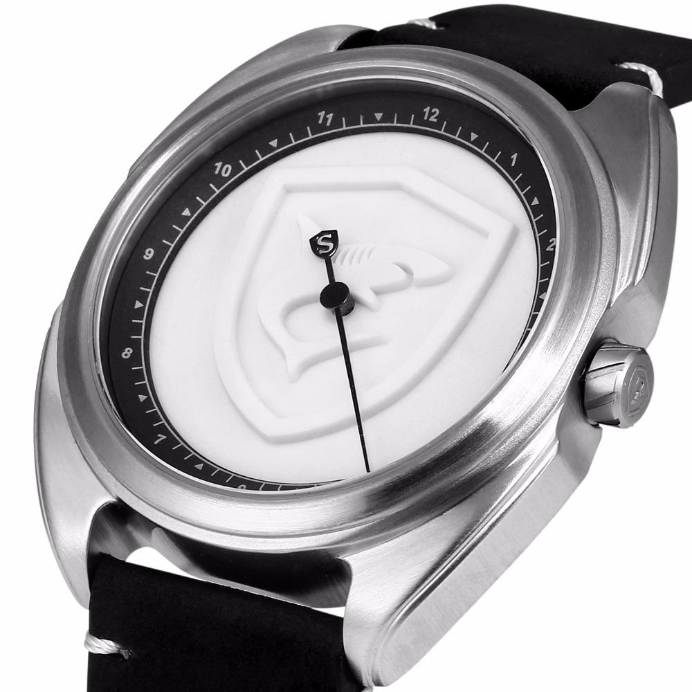 442e2b083f7 Colarinho Tapete Logotipo Relógio Do Esporte Tubarão 3D Branco Um Simples  Hora Mão Design Pulseira De Couro de Quartzo Dos Homens Relógios Reloj  Hombre   ...