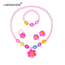 LUBINGSHINE Pretty Flower Pattern Baby Girls Jewelry Sets Simulated Pearl Bead Elastic Necklace Bracelet Ring Earring Set Gifts(China)