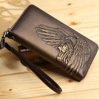 Männer Leder Geldbörsen Qualität Reißverschluss Handtaschen Luxus Tribe Mann Designer Lange Brieftasche Karte Fall mit Armband