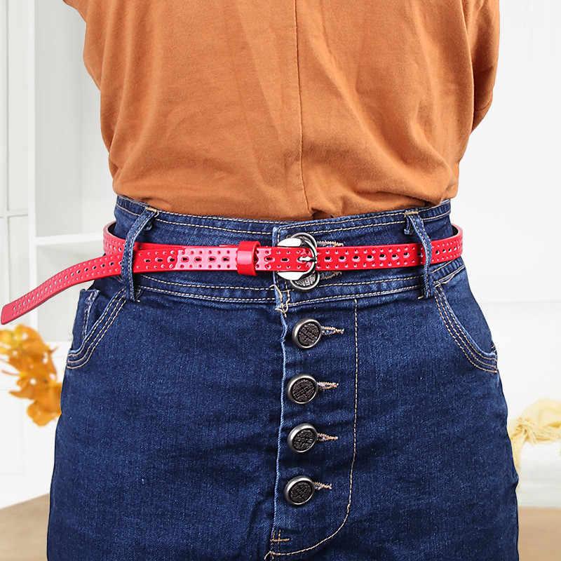 Vintage Wanita Pu Tipis Berongga Dekoratif Belt Kopi Hitam Merah Biru Pin Gesper Kulit Sabuk Wanita Gaun Rok Celana Jeans kemer
