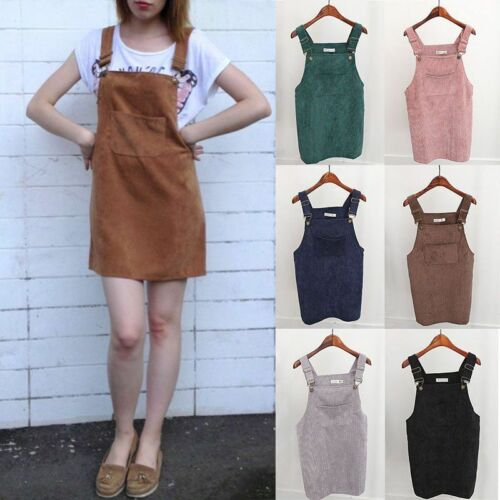 2019 Women Retro Corduroy Dress Autumn Spring Suspender Sundress Loose Vest Overall Dress Female Natural Casual  Party Dresses