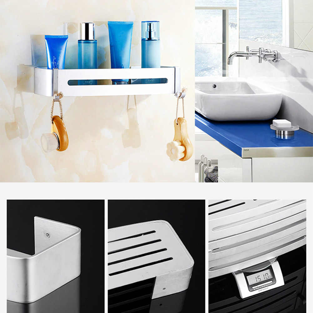 Corner Bathroom Shelf Rustproof Wall Mount Nail Free Adhesive Space Aluminum Kitchen Storage UYT Shop